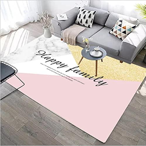 Alfombras Salon Grandes Rug Antideslizante para el hogar Moderna Diseño Impresión de Letras Negras geométricas en Blanco Roto Rosa Dorado 200X300CM(6.6ft x 9.8ft)