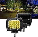 Sammanlight 7 Inch 2PCS Yellow Spot Beam LED Light Bar Light...