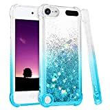 iPod Touch 5 6 7 Case, iPod Touch Case 5th 6th 7th Generation for Girls, Ruky Gradient Quicksand Series Glitter Flowing Liquid Floating Flexible TPU Cute Case for iPod Touch 5 6 7 (Gradient Teal)