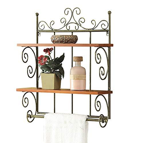 Vintage Rekken-badkamer dubbele wand Legvlakken, Europees Luxe Household Handdoekrek Indoor Crafts Shelf