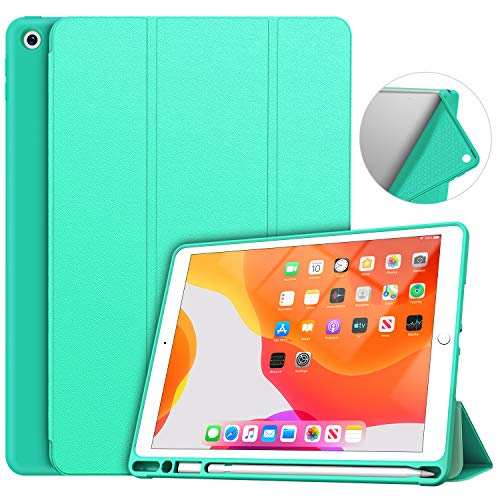 Soke iPad 7th Generation Case, New iPad Case 10.2 Case 2019 with Pencil Holder, Lightweight Smart Cover with Soft TPU Back, Auto Sleep/Wake for iPad 7th Gen 2019(Mint Green)