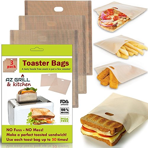 Toaster Bags Set of 3 Non-stick Teflon Reusable - Perfect for Grilled Cheese Sandwiches - Best Grill Cheese Bags - Toasted Sandwich Bags - Microwave Oven Toaster Bags Panini Toast Bags (Light Broun)