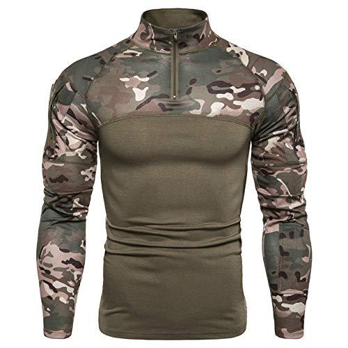 Subink Sweatshirts für Herren, Supreme Sweatshirt, Sweatshirts, Military Battlefield Outdoor Fitness Camouflage Langarm Reißverschluss Elastisch Casual T-Shirt Gr. Large, grün