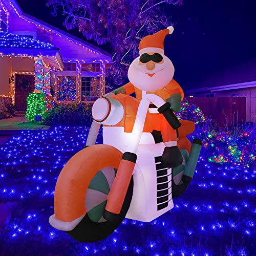 Outable 6 FT Inflatable Santa Claus - Riding Motorcycle Christmas Masters Decoration Xmas LED Lights Indoor Outdoor Home Garden Yard Lawn Decor - Cute Funny Xmas Holiday Party Blow Up Display(1 Pack)
