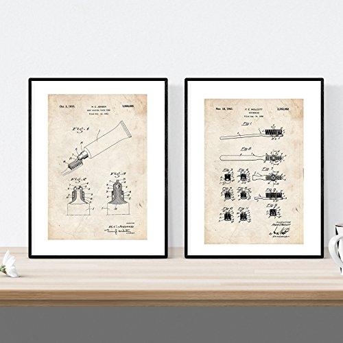 Pack de Dos Laminas de Cepillo de Dientes y Pasta Dental. Patentes Fondo Vintage. 250 gr. A4