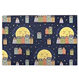 N-R Puzzle 1000 Pieces Jigsaw Puzzles DIY Wooden for Adults Kids Good Night and Sleeping Town Full Moon Shiny Stars in Sky