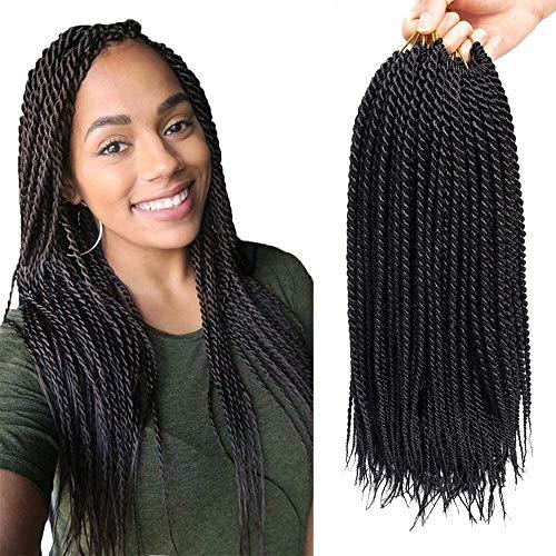 8 Packungen Senegalese Twist Crochet Braids Extensions synthetisches Haar zum Flechten kleine Havana Mambo Twist Braids (22 Zoll,1B#)