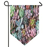Planta de flores de Kalanchoe Kalanchoe con diseño de cactus, bandera de doble cara para el hogar, patio, decoración de jardín, 61 x 100 cm