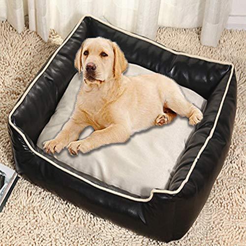 HANHAN Cama de mimbre de cuero para perro, cueva pequeña/media/grande, resistente, resistente, indestructible, cesta para dormir, sofá ortopédico, lavable para cachorros, gato, negro