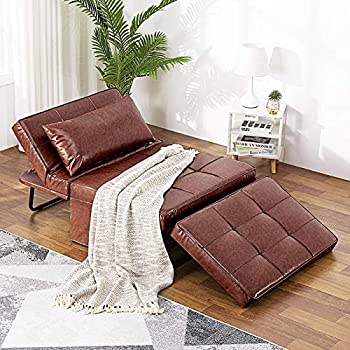 Vonanda Leather Ottoman Sleeper Chair Bed,Small Modern Couch Multi-Position Convertible with Selected Leather Fabrics and Unique Sturdy Frame for Small Space Chestnut Brown
