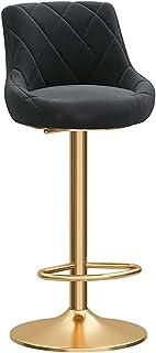 Swivel Bar Stool Kitchen Breakfast Barstool Counter Height Chair, Round Velvet Seat + Gold Metal Legs, Adjustable Height 6...