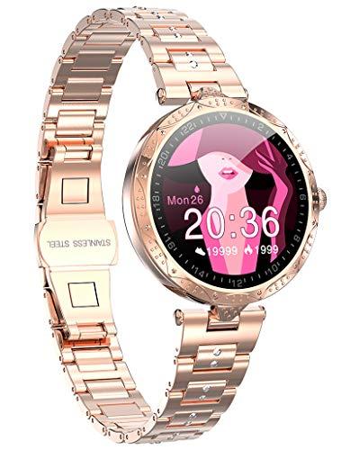 Damen Smartwatch Sport Uhr Fitness Tracker Wasserdicht Pulsmesser Schlaftracker Schrittzähler Kalorienzähler Stoppuhr SMS Fitness Armband Mädchen Fitnessuhr Armbanduhr Damens Horloge
