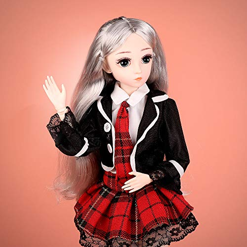 ElaTany BJD Dolls, 1/4 SD Doll 18 Inch 18 Ball Jointed Doll DIY Toys with Full Set Clothes Shoes Wig Makeup, Fashion Style, Beautiful Gift for Girls (Red 2)