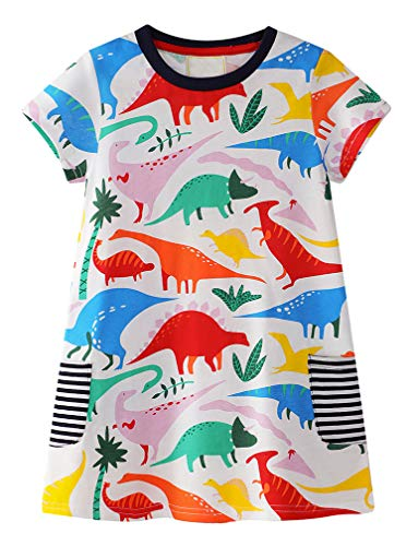 BTGIXSF Little Girls Cotton Dresses Baby Casual Cartoon Dress Toddler Short Sleeve Dinosaur Skirt Dresses 001 4T