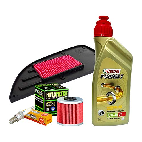 Tecneco Kit Castrol Power 1 Huile 10 W40 Filtre à air pour kymco downtown i 125/200