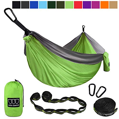Gold Armour Camping Hammock - Extra Large Double Parachute Hammock (2 Tree Straps 16 Loops,10 ft Included) USA Brand Lightweight Nylon Mens Womens Kids, Camping Accessories Gear (Lime Green/Gray)