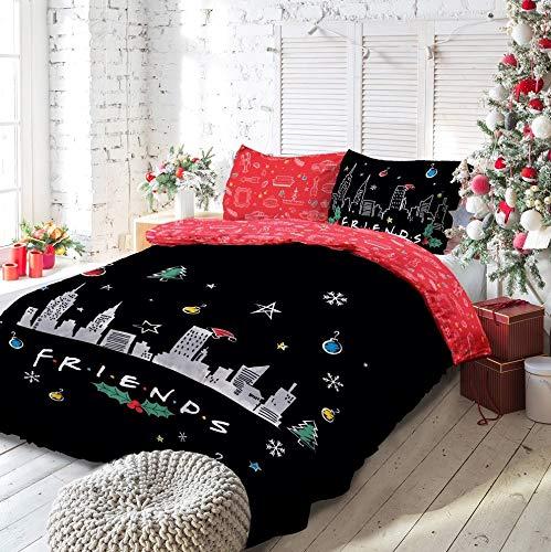 Warner Brother Friends TV Show Christmas Manhattan-Juego edredón Reversible con Fundas de Almohada (220 cm x 230 cm), diseño de Navidad, algodón poliéster, Negro, Rojo, Matrimonio