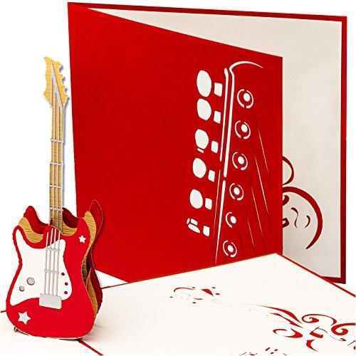3D wenskaart E gitaar, pop-up, wenskaart muziek, Rock'nroll, verjaardagskaart als concert-tegoedbon, festival tegoedbon, muziek tegoedbon, gitaar leer, muzikanten