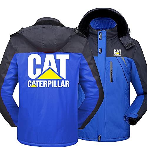GPOL Capucha Chaqueta Impermeable Cárdigan Más Lana Cater-Pillar Impresión Grueso Calentar Hombre Y Mujer Casual Esquí Trajes/Azul/M