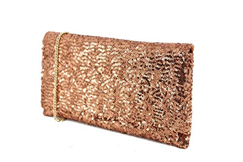 LONI glitzernden Pailletten Party Abend Clutch Umhängetasche in Kupfer Bronze