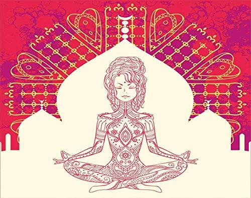 Y·JIANG Pintura de meditación por números, Mandala Meditación Niña Chakra Beige Rojo DIY Lienzo Acrílico Pintura al óleo por Números para Adultos Niños Decoración de Pared del Hogar 40,6 x 50,8 cm