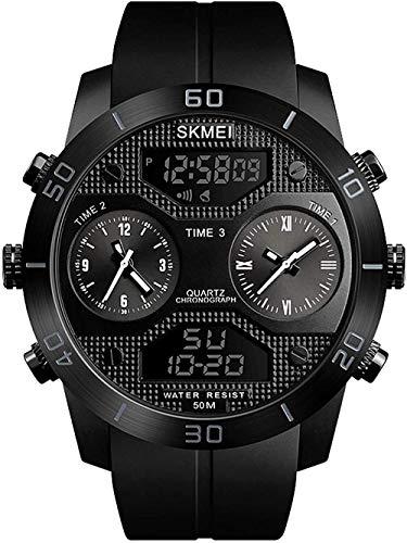 Reloj multifunción para hombre, para exteriores, con función de alarma, indicador luminoso, sistema de 12/24 horas, color rojo y negro