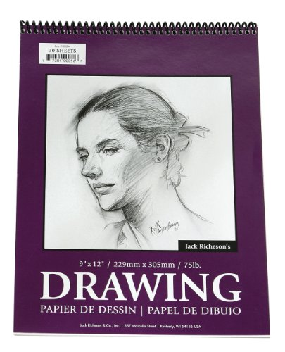 Jack Richeson 12-Inch-by-18-Inch Drawing Paper Pad, 30-Sheet Spiral