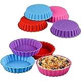 8 piezas Silicona Moldes para pasteles, Antiadherente Redondo Moldes para tartas, Ronda estriada Moldes para hornear flan para Muffin, Quiche, Pie, Tarta de huevo (4 pulgadas)