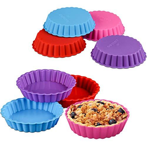 8Pcs Silikon Backform - Tortelett Silikonbackformen Obsttorten Quicheformen Kuchenform Kuchenbackform Tortenform Tortenboden Rund Wellenrand
