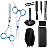 Professional 11Pcs Hair Cutting Scissors Set, Stainless Steel Thinning Shears, for Hairdressing, Thinning, Texturizing, Salon or Home Use.