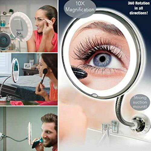 My Flexible Mirror Espejo de maquillaje LED Iluminado con aumento de 10x y ventosa, giratoria de 360 °, iluminación sin deslumbramiento para el hogar y en movimiento