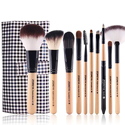 Maquillage brosse Fondation Kabuki Ensemble, Visage Et Yeux Maquillage - professionnel Qualité Synthétique Poils Pour Poudre, Rougir, Anti-cernes, 10pièces-brown