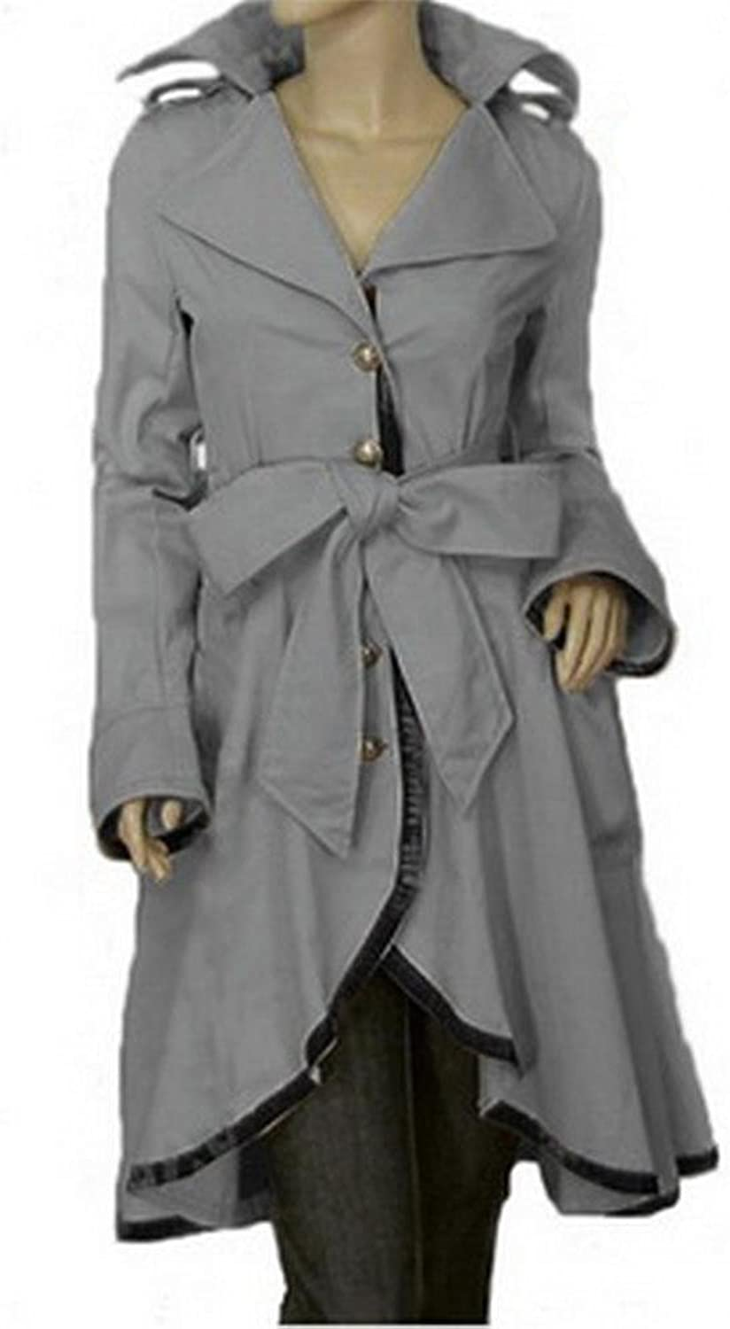 Angel&Lily Irregular hem Belted long Trench Coat 1x10x (SZ1652)