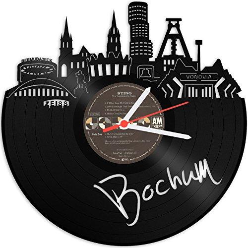 GRAVURZEILE Wanduhr aus Vinyl Schallplattenuhr Skyline Bochum Upcycling Design Uhr Wand-Deko Vintage-Uhr Wand-Dekoration Retro-Uhr Made in Germany