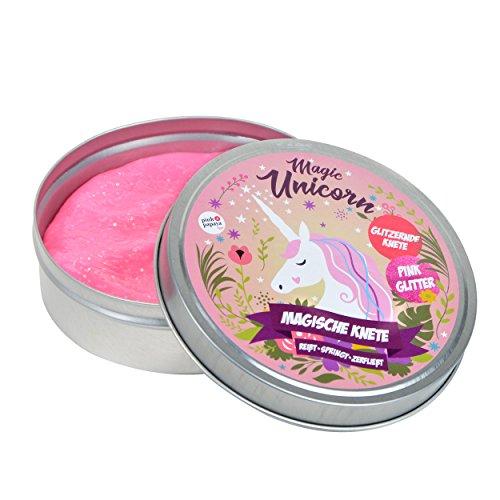 Pink Papaya Magische Knete - Magic Unicorn - Fidget Einhorn Knete in Pink mit Glitzer das intelligente Knetgummi zur Stressreduktion, BPA Free - viele Farben mit verschiedenen Eigenschaften