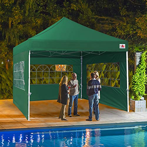 ABCCANOPY Outdoor Canopy Tent 10x10 Gazebo Pop Up Party Tent Wedding Instant Shelter with Elegant Church, Bonus Carrying Case/Bag, Green