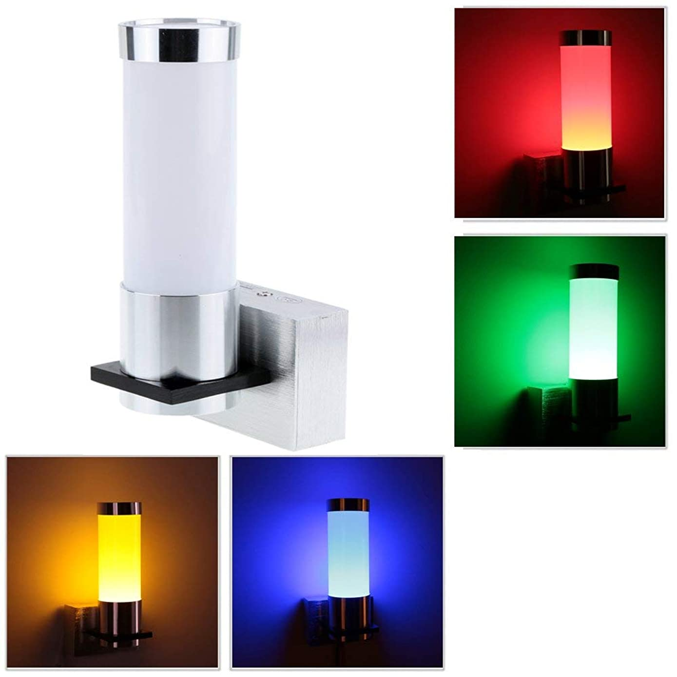 Docooler 1W 85-265V AC Modern Simple Minimalist Aluminum LED Wall Light Sconce Lamp Indoor Bedroom Hallway Aisle Kitchen for Decor Lighting Red Green Blue Yellow