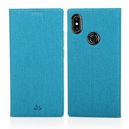 Eastcoo Xiaomi Mi Mix 2s Hülle, Mi Mix 2s PU Leder Folio Flip Hülle Dünn Premium klappbares Book TPU Cover Bumper Tasche Mit Standfunktion Magnetverschluss Kartenfach Wallet Handyhülle(Blue)