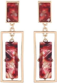 Acrylic Earrings Women's Cellulose Acetate Earrings Geometric Double Rectangle Dangle Earrings