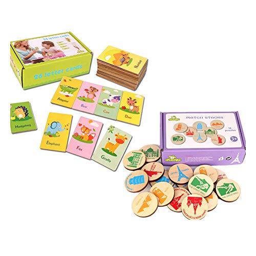 FairOnly Lettre de développement précoce Flash Cards Animaux Alphabétisation Apprentissage Outils pédagogiques pour les enfants des écoles primaires Carte de mot + nom de modèle de construction de mot