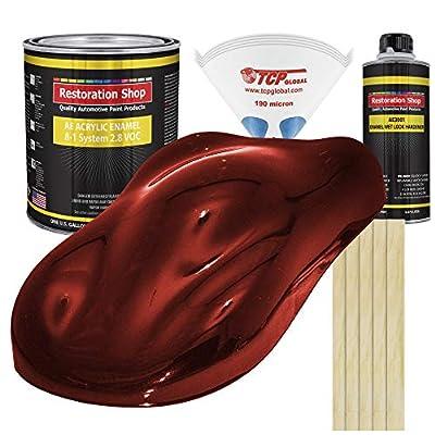 Restoration Shop - Fire Red Pearl Acrylic Enamel Auto Paint - Complete Gallon Paint Kit - Professional Single Stage High Gloss Automotive, Car, Truck, Equipment Coating, 8:1 Mix Ratio, 2.8 VOC
