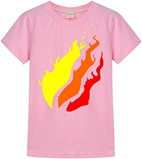 Indepence Life Youth Preston-Playz Fire Short Sleeve T-Shirt Boys and Girls Flame Print Shirt