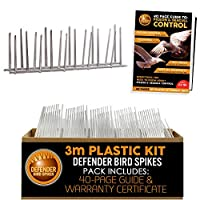 Defender Bird Spikes stop pigeons & birds landing, perching or roosting on ledges up to 10 cm wide 3 metre pack contains 9 bird deterrent strips   Does not include adhesive Includes 40 page Defender pigeon deterrent guide & Defender 15 Year strength ...