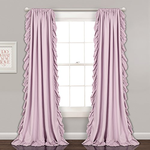 "Lush Decor Reyna Lilac Window Panel Curtain Set for Living, Dining Room, Bedroom (Pair), 84"" x 54"", 2 Count"