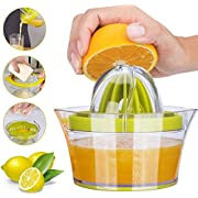 Yimobra Citrus Lemon Orange Juicer Manual Hand Squeezer Lime Press with Strainer Built-in Measuring Cup and Grater Anti-Slip Reamer Extraction Egg Separator, 12OZ
