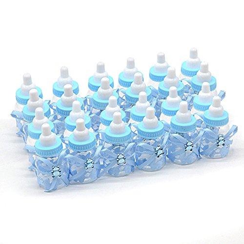 ebuybox® 24x Babyshower Gastgeschenke Blau Baer Schnuller Milchflasche Babyflasche Baby Taufe Geburt Party Tischdeko