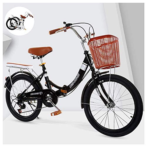 YSHUAI Retro Fahrrad City Bike Klapprad Freizeit Klappräder Folding Bike Klappfahrrad Faltbares Fahrrad Für Männer Und Frauen, Faltrad Mit Rücklicht Und Autokorb (20/22/24 Zoll),Schwarz,22inch