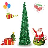 Otdair 5ft Pop Up Christmas Tinsel Tree Xmas,Collapsible Christmas Tree with Stand for Indoor and Outdoor Holiday Home Display,Green