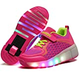 Charmstep Unisex Niños LED Parpadea Zapatos con Ruedas, Ajustable Rueda Automática Aire Libre Patines Deportes Zapatillas Niño Niña,Pink,28EU