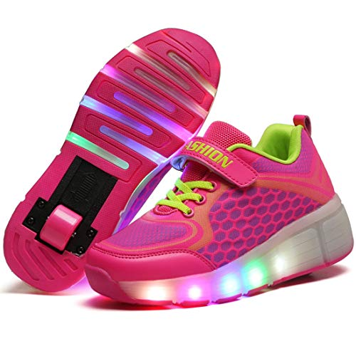 Charmstep Unisex Niños LED Parpadea Zapatos con Ruedas, Ajustable Rueda Automática Aire Libre Patines Deportes Zapatillas Niño Niña,Pink,31EU